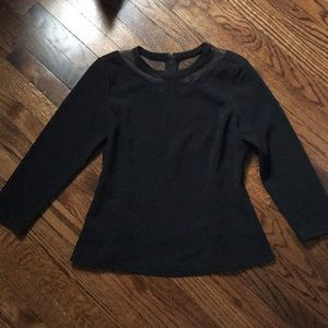 Black Ann Taylor blouse with lace detail